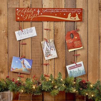 O Holy Night Wooden Hanging Card Holder  -