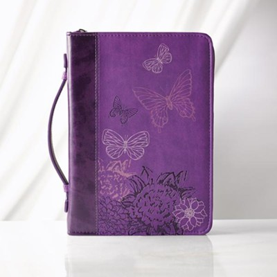 Butterflies Bible Cover, Purple, Medium  -