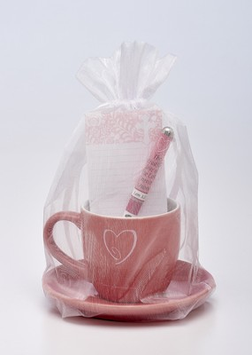 Timeless Faith Cup and Saucer, Pen, Notepad Gift Set  -