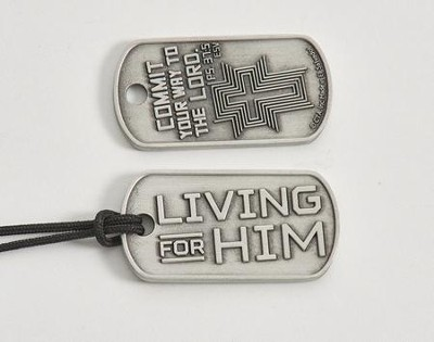 Living for Him Dog Tag Necklace, Pewter  -