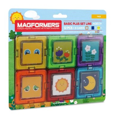 Magformers Card Plus-Face, 12 Piece and 6 Card Set  -