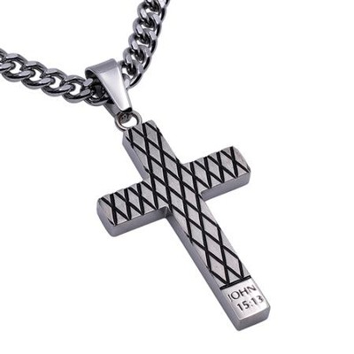 Forgiven Diamond Back Cross Necklace, Silver  -