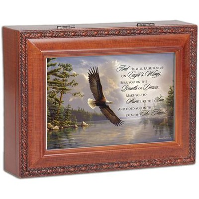 Wood Grain Music Box, On Eagles Wings  -