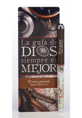 La guía de Dios siempre es mejor, marcador gde. y boligrafo  (God's Direction is Always Best Jumbo Bookmark & Pen Set)  -