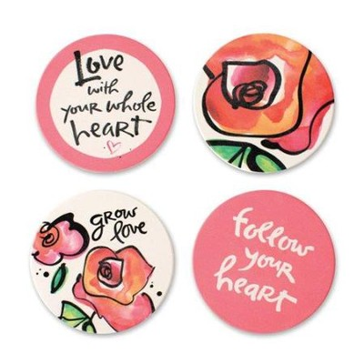 Love Coasters, Set of 4 Assorted  -     By: Kathy Davis