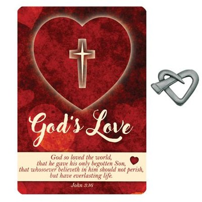 God's Love Heart Nail Lapel Pin with Inspirational Card  -