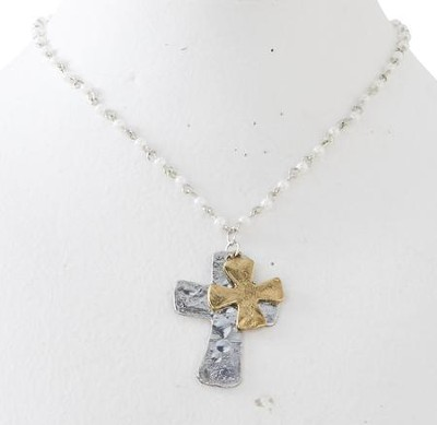 Double Cross Pendant Necklace, Silver & Gold  -