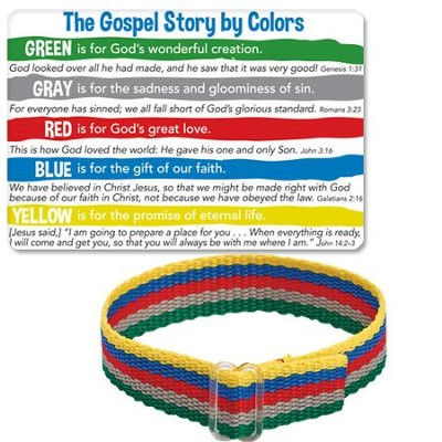 The Gospel Story By Colors Cloth Bracelet and Card  -