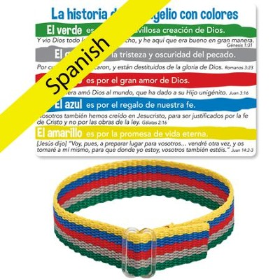 The Gospel Story By Colors Cloth Bracelet and Card, Spanish  -