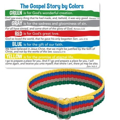 The Gospel Story By Colors Cloth Bracelet And Card Kjv
