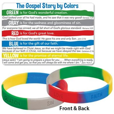 The Gospel Story by Colors, Silicone Bracelet with Card   -