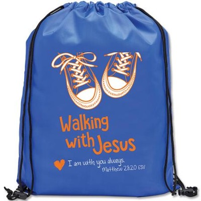 Walking with Jesus Drawstring Backpack  -