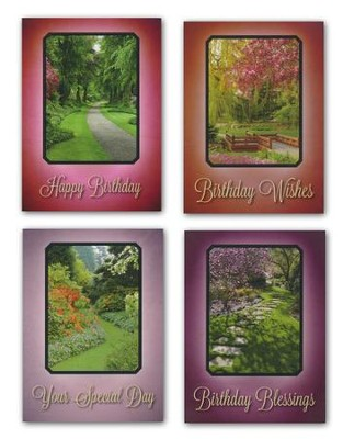 Garden Pathways Birthday Cards, Box of 12  -