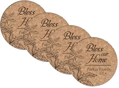 Personalized, Cork Coaster, Bless Our Home, Set of 4   -