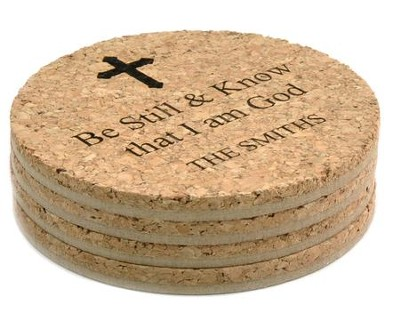 Personalized, Cork Coaster, Be Still, Set of 4   -