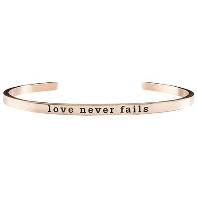 Love Never Fails Cuff Bracelet, Rose Gold  -