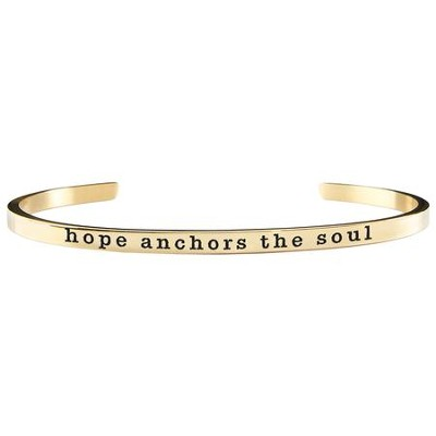 Hope Anchors the Soul Cuff Bracelet, Gold  -