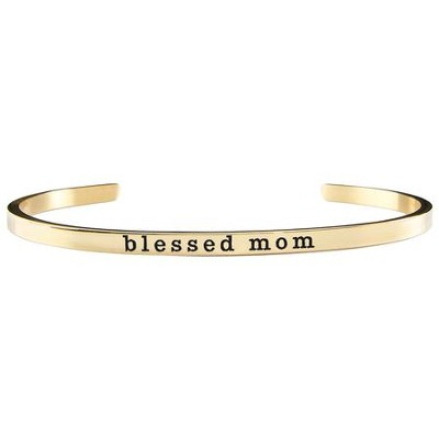 Blessed Mom Cuff Bracelet, Gold  -