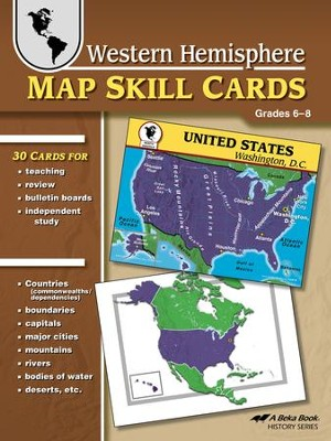 Abeka Western Hemisphere Map Skill Cards--Grades 6 to 8   -