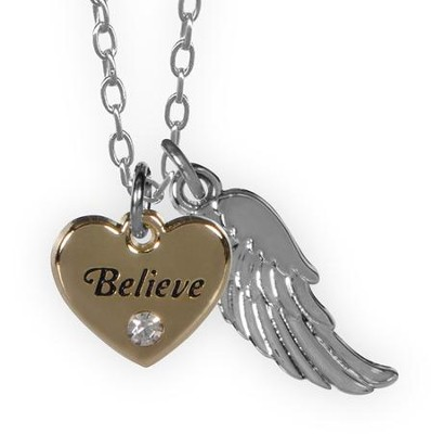 Believe, Heart and Feather Pendant  -