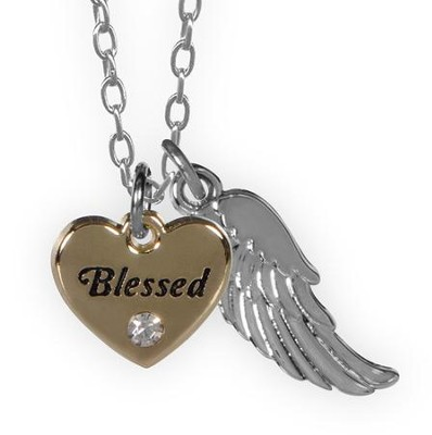 Blessed, Heart and Feather Pendant  -