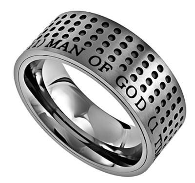 Man of God Sport Men's Ring Silver, Size 13 (1Timothy 6:11)  -