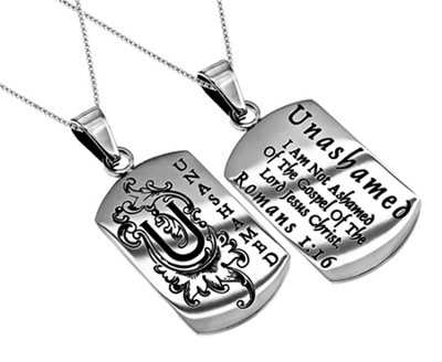 Unashamed Girls Dog Tag, 18 Chain (Romans 1:16)  -