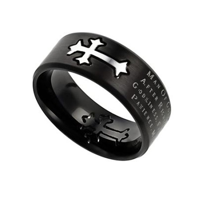 Man of God Neo Cross Scripture Men's Ring, Black, Size 9 (1Timothy 6:11)  -