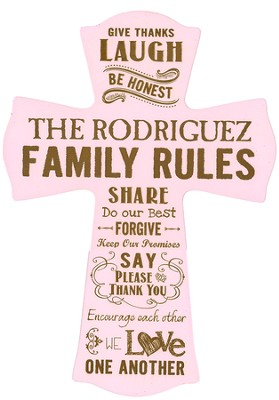 Personalized, Wall Cross, Family Rules, Large, Pink   -