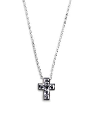 Cross Necklace, Gray Crystal  -