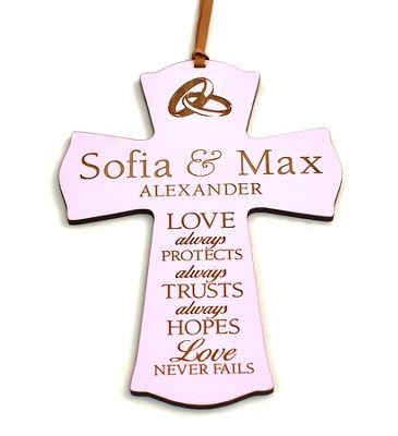Personalized, Mini Cross Ornament, Love Never Fails,  Pink  -