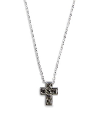 Cross Necklace, Black Crystal  -