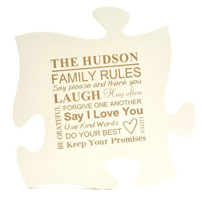 Personalized, Puzzle Piece, Family Rules, White   -
