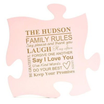 Personalized, Puzzle Piece, Family Rules, Pink   -