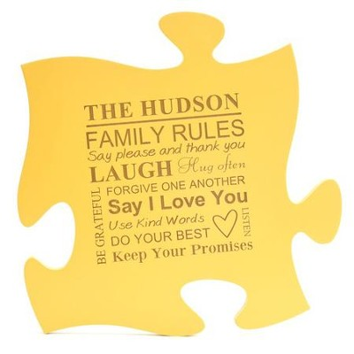 Personalized, Puzzle Piece, Family Rules, Yellow   -