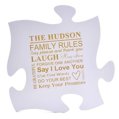 Personalized, Puzzle Piece, Family Rules, Purple   -