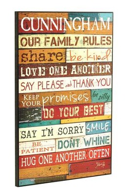 Our Family Rules, Personalized Plaque, Multi-colored, Large   -