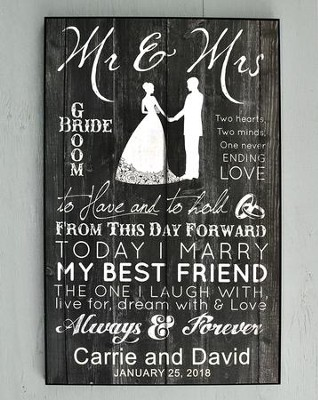 Personalized, Mr. & Mrs. Large Plaque, Black   -