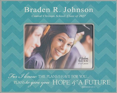 Personalized, Print Photo Frame, Graduation, 4x6, Teal   -