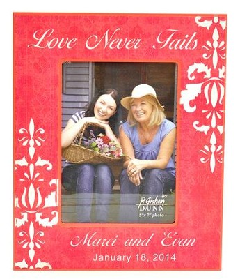 Personalized, Print Photo Frame, Love Never Fails, 5x7, Pink  -