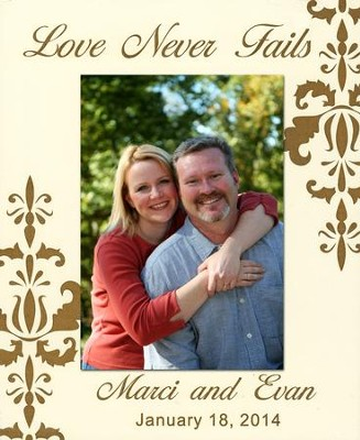 Personalized, Photo Frame, Love Never Fails, 5x7, White   -