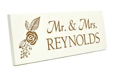 Personalized, Long Plaque, Mr. and Mrs., White    -