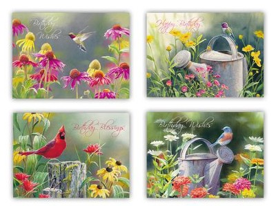 Birds & Blooms Birthday Cards, Box of 12  -
