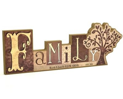 Personalized, Block Word Plaque, Family   -