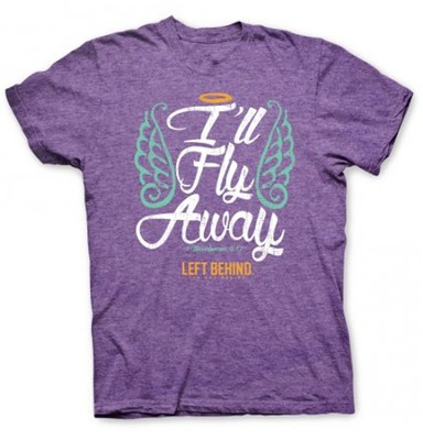 I'll Fly Away, Short Sleeve Regular Fit Tee Shirt, Purple Heather, Adult X-Large  -
