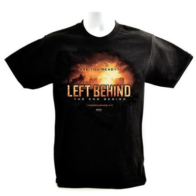 Left Behind Logo, Short Sleeve Regular Fit Tee Shirt, Black, Adult Medium  -