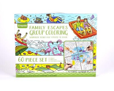 Crayola, Family Escapes Group Coloring Kit, Whimsical Destinations, 60 pieces  -