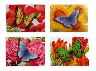 Die-Cut Butterfly, Floral, Blank Note Cards   -