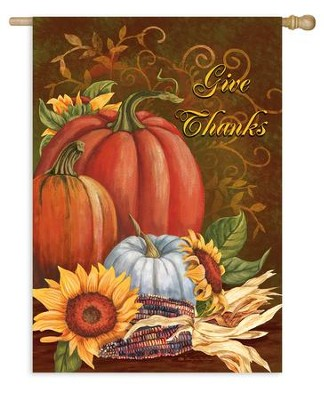 Give Thanks, Flag, Large  -     By: Mary Lou Troutman