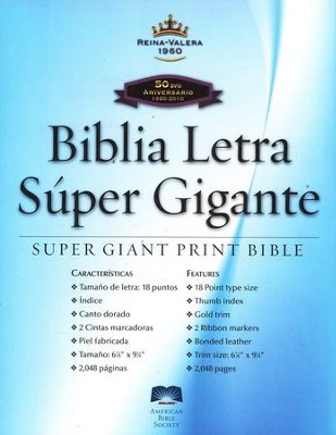 Biblia Letra Super Gigante RVR 1960, Piel Fabricada Negra, Ind.  (RVR 1960 Super Giant Print Bible, Bond. Leather Black Ind.)         -